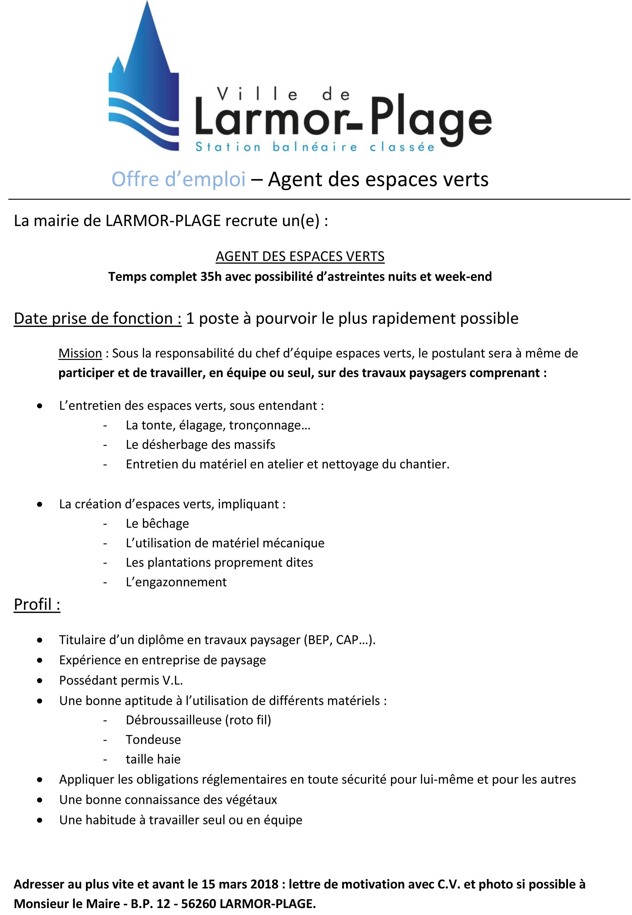 Offre d 39 emploi agent des espaces verts larmor plage for Offre emploi entretien espaces verts