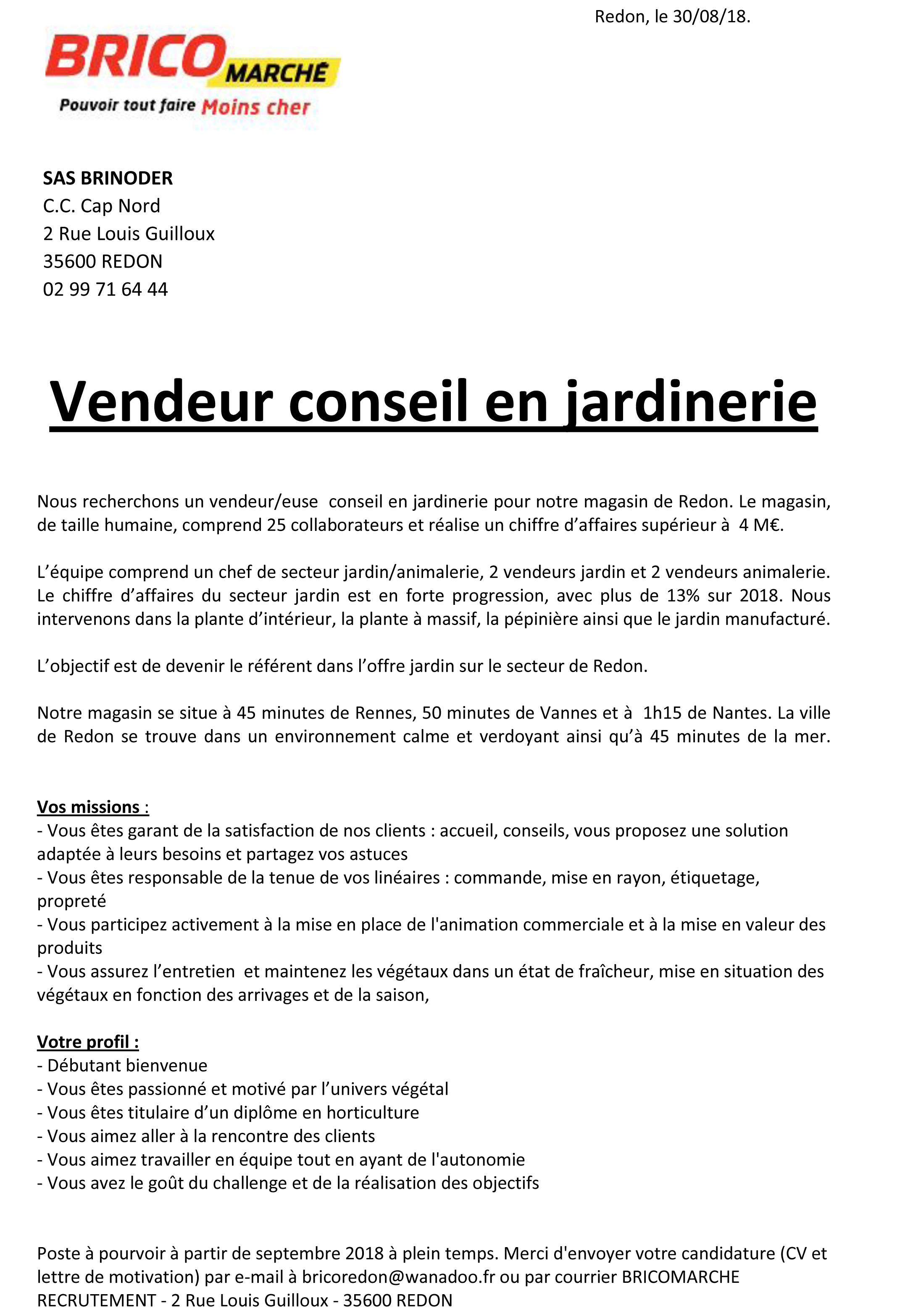 Offre D Emploi Vendeur Conseil En Jardinerie Le Sulhouet