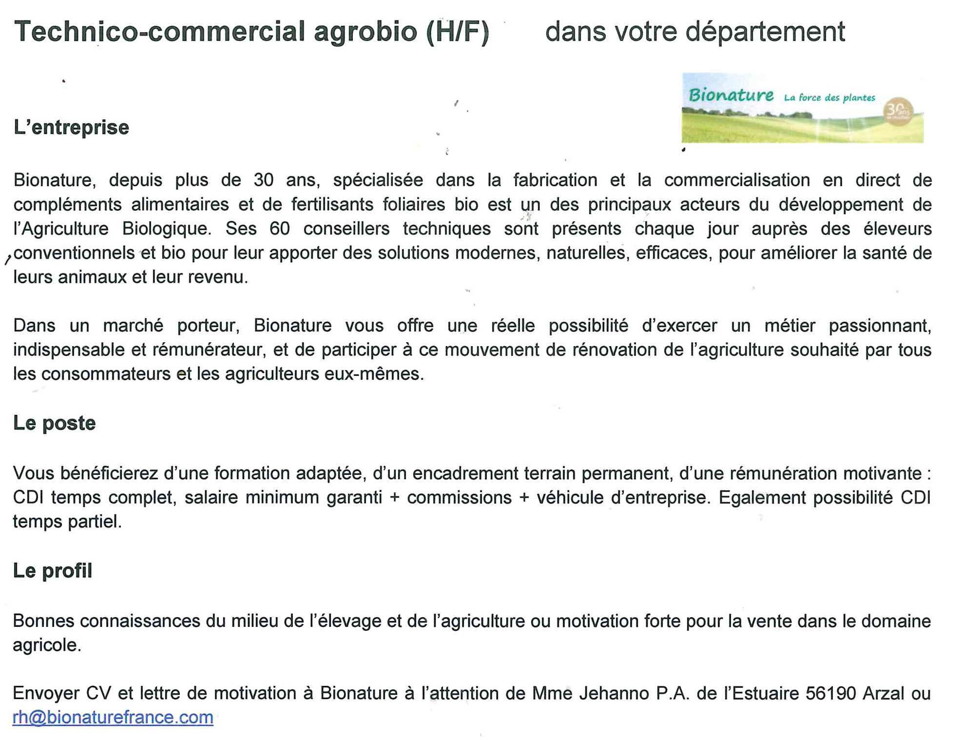 Offre D Emploi Cdi Technico Commercial Agrobio Le Sulhouët