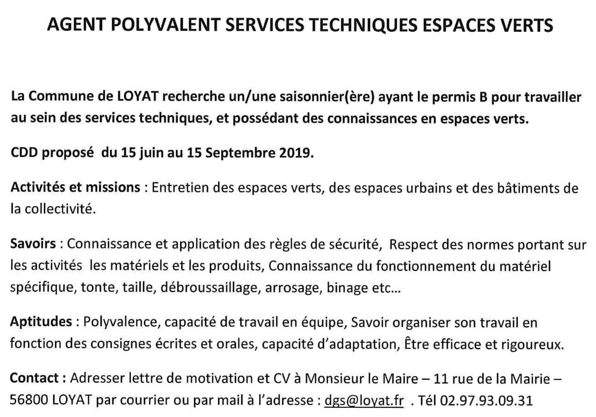 Offre D Emploi Saisonnier Agent Polyvalent Le Sulhouët